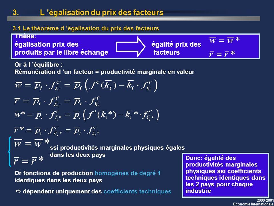 2000-2001 Economie Internationale 3. L égalisation du prix des facteurs 3.1 Le théorème d égalisation du prix des facteurs Thèse: égalisation prix des