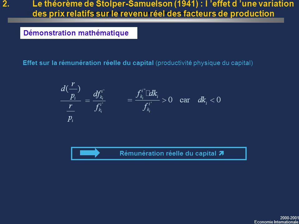 2000-2001 Economie Internationale 2. Le théorème de Stolper-Samuelson (1941) : l effet d une variation des prix relatifs sur le revenu réel des facteu