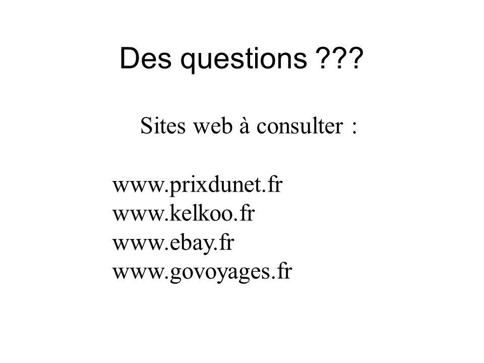 Des questions ??? Sites web à consulter : www.prixdunet.fr www.kelkoo.fr www.ebay.fr www.govoyages.fr