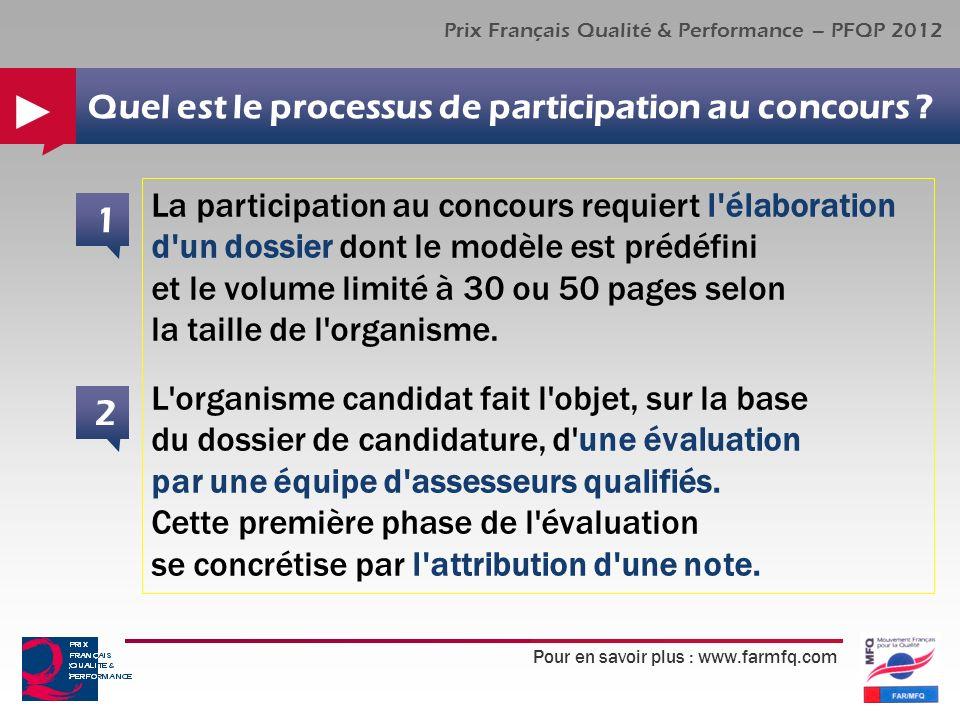 Pour en savoir plus : www.farmfq.com Prix Français Qualité & Performance – PFQP 2012 Quel est le processus de participation au concours ? La participa