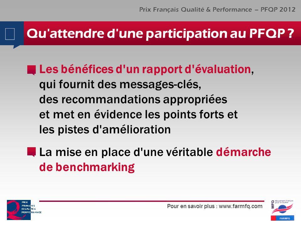 Pour en savoir plus : www.farmfq.com Prix Français Qualité & Performance – PFQP 2012 Qu'attendre d'une participation au PFQP ? Les bénéfices d'un rapp