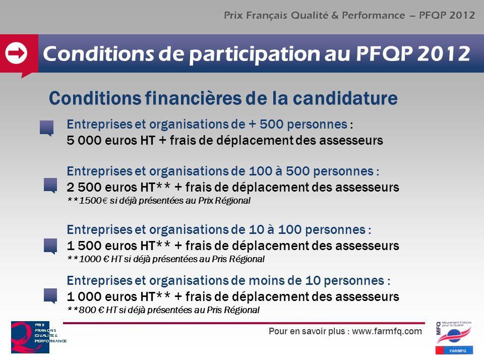 Pour en savoir plus : www.farmfq.com Prix Français Qualité & Performance – PFQP 2012 Conditions de participation au PFQP 2012 Entreprises et organisat