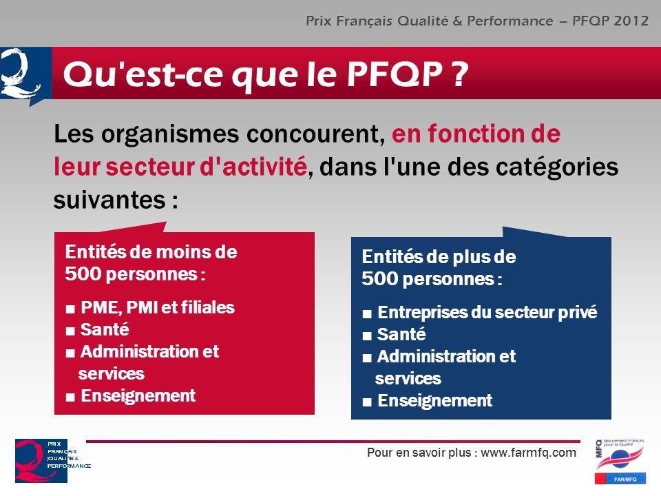 Pour en savoir plus : www.farmfq.com Prix Français Qualité & Performance – PFQP 2012 Qu'est-ce que le PFQP ? Les organismes concourent, en fonction de