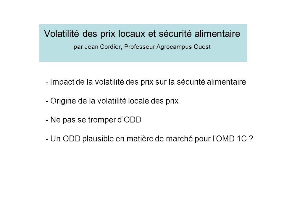 Volatilité des prix locaux et sécurité alimentaire par Jean Cordier, Professeur Agrocampus Ouest - Impact de la volatilité des prix sur la sécurité alimentaire - Origine de la volatilité locale des prix - Ne pas se tromper dODD - Un ODD plausible en matière de marché pour lOMD 1C ?