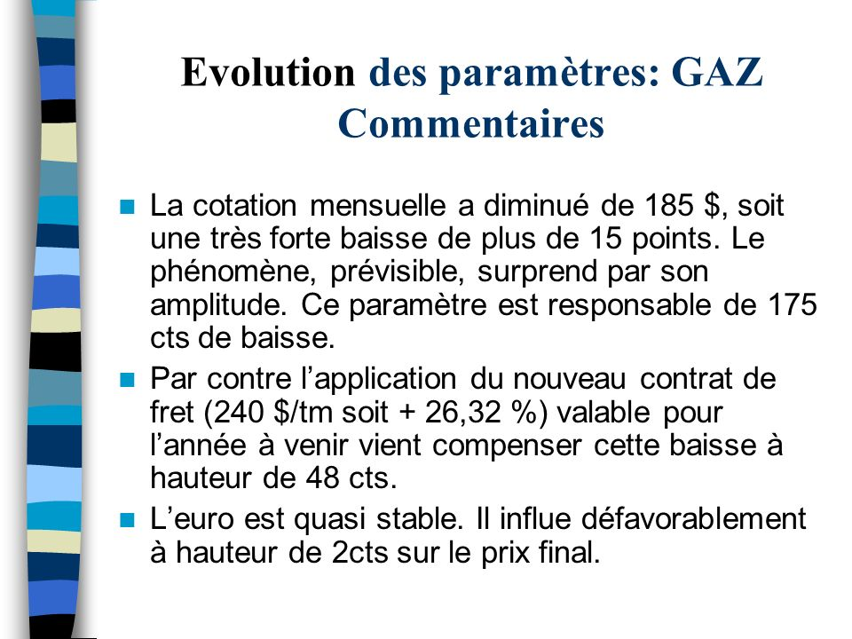 Evolution des paramètres: GAZ Commentaires La cotation mensuelle a diminué de 185 $, soit une très forte baisse de plus de 15 points. Le phénomène, pr