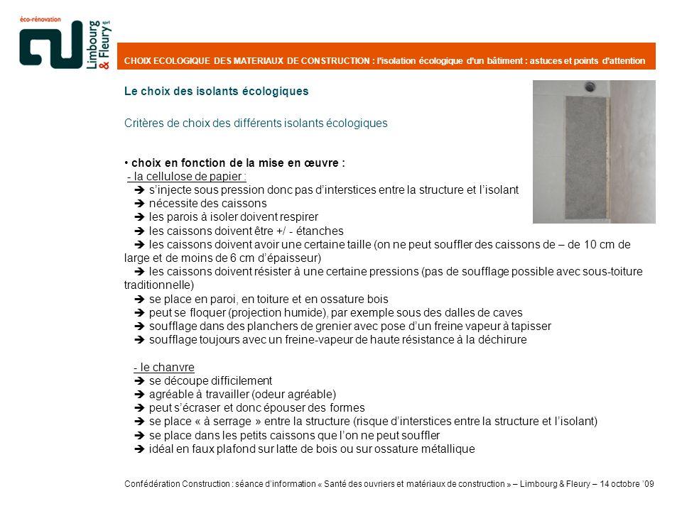 CHOIX ECOLOGIQUE DES MATERIAUX DE CONSTRUCTION : lisolation écologique dun bâtiment : astuces et points dattention choix en fonction de la mise en œuv