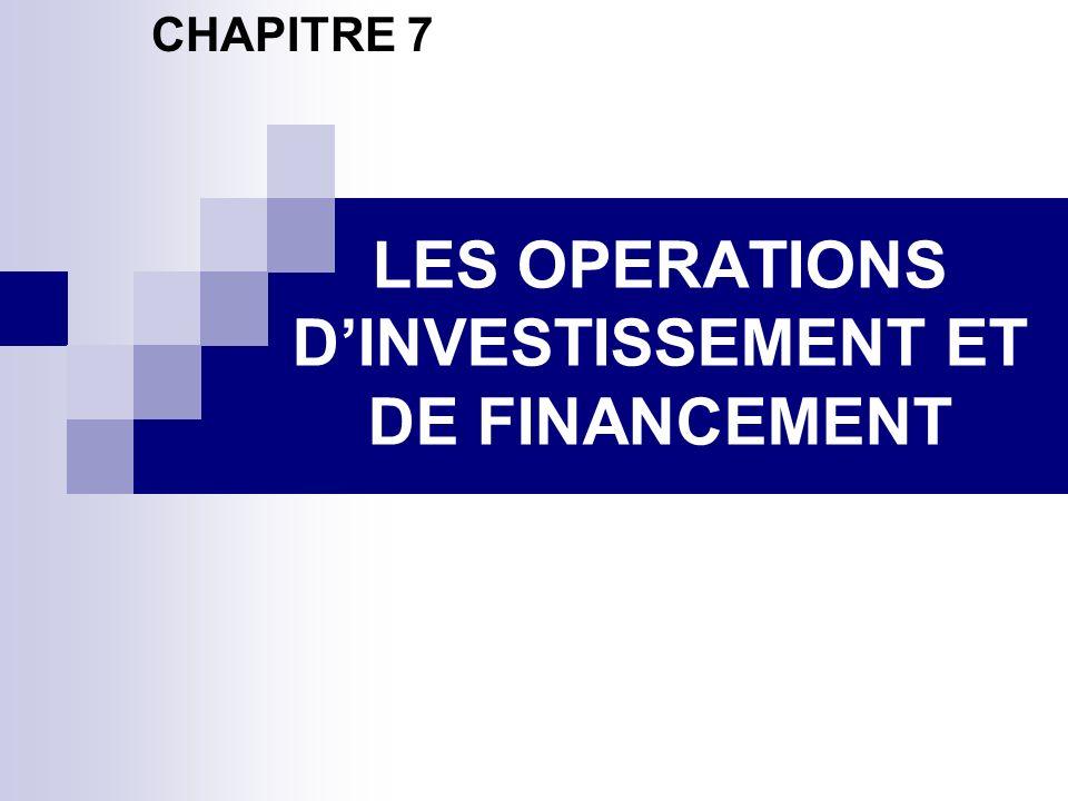 LES OPERATIONS DINVESTISSEMENT ET DE FINANCEMENT CHAPITRE 7