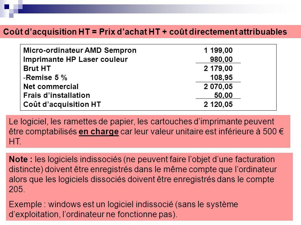 Coût dacquisition HT = Prix dachat HT + coût directement attribuables Micro-ordinateur AMD Sempron1 199,00 Imprimante HP Laser couleur 980,00 Brut HT2 179,00 -Remise 5 % 108,95 Net commercial2 070,05 Frais dinstallation 50,00 Coût dacquisition HT 2 120,05 Le logiciel, les ramettes de papier, les cartouches dimprimante peuvent être comptabilisés en charge car leur valeur unitaire est inférieure à 500 HT.