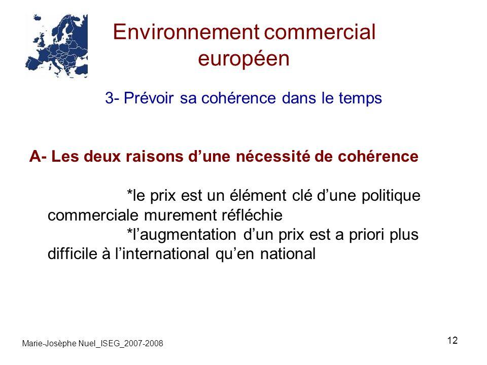 12 Environnement commercial européen Marie-Josèphe Nuel_ISEG_2007-2008 3- Prévoir sa cohérence dans le temps A- Les deux raisons dune nécessité de cohérence *le prix est un élément clé dune politique commerciale murement réfléchie *laugmentation dun prix est a priori plus difficile à linternational quen national