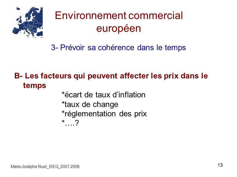 13 Environnement commercial européen Marie-Josèphe Nuel_ISEG_2007-2008 3- Prévoir sa cohérence dans le temps B- Les facteurs qui peuvent affecter les prix dans le temps *écart de taux dinflation *taux de change *réglementation des prix *….