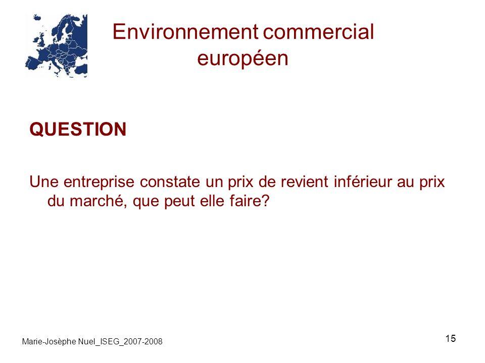 15 Environnement commercial européen Marie-Josèphe Nuel_ISEG_2007-2008 QUESTION Une entreprise constate un prix de revient inférieur au prix du marché