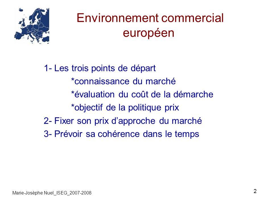 2 Environnement commercial européen Marie-Josèphe Nuel_ISEG_2007-2008 1- Les trois points de départ *connaissance du marché *évaluation du coût de la démarche *objectif de la politique prix 2- Fixer son prix dapproche du marché 3- Prévoir sa cohérence dans le temps
