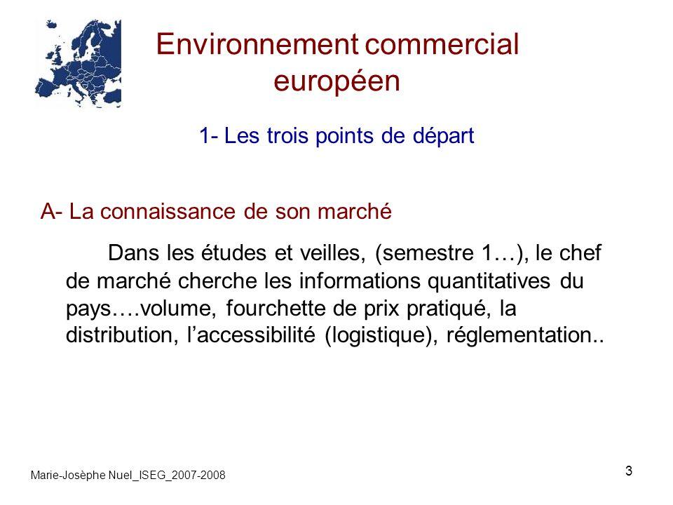 3 Environnement commercial européen Marie-Josèphe Nuel_ISEG_2007-2008 1- Les trois points de départ A- La connaissance de son marché Dans les études e