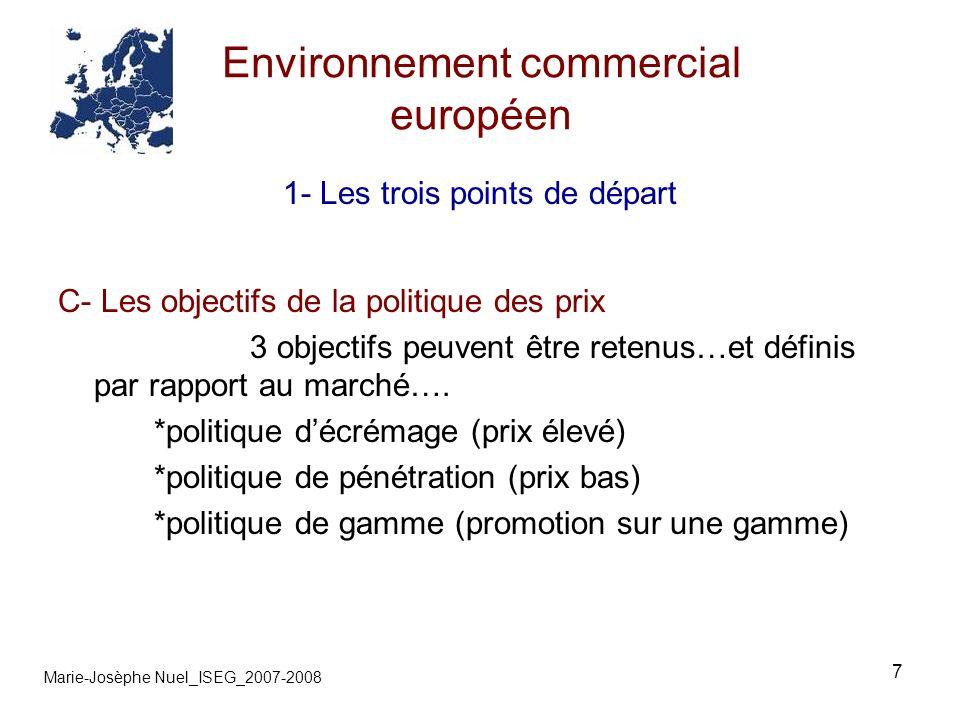 7 Environnement commercial européen Marie-Josèphe Nuel_ISEG_2007-2008 1- Les trois points de départ C- Les objectifs de la politique des prix 3 objectifs peuvent être retenus…et définis par rapport au marché….