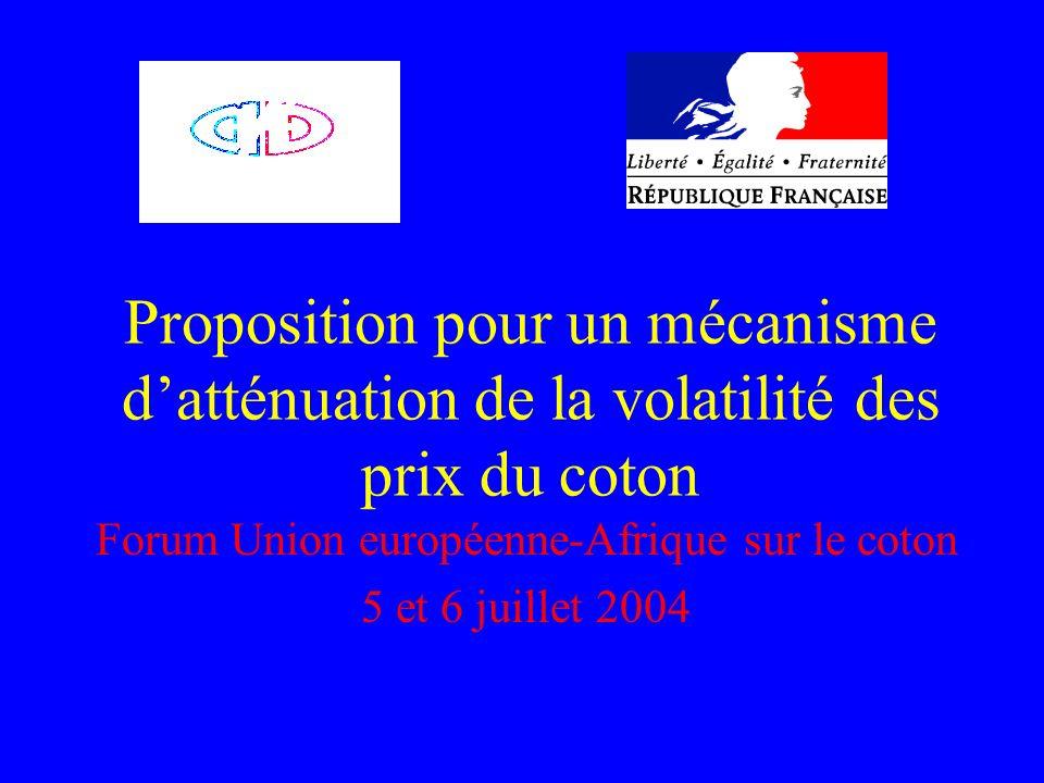 Proposition pour un mécanisme datténuation de la volatilité des prix du coton Forum Union européenne-Afrique sur le coton 5 et 6 juillet 2004
