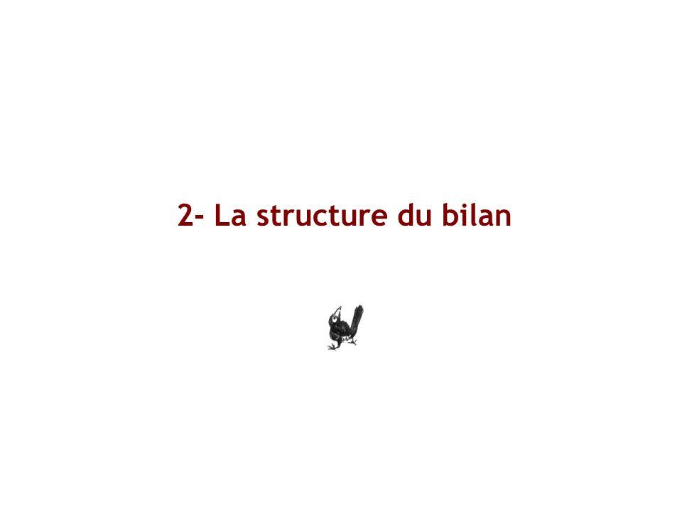 La structure du bilan A noter: seules les sociétés sont tenues à une comptabilité complète et à une présentation de bilan.