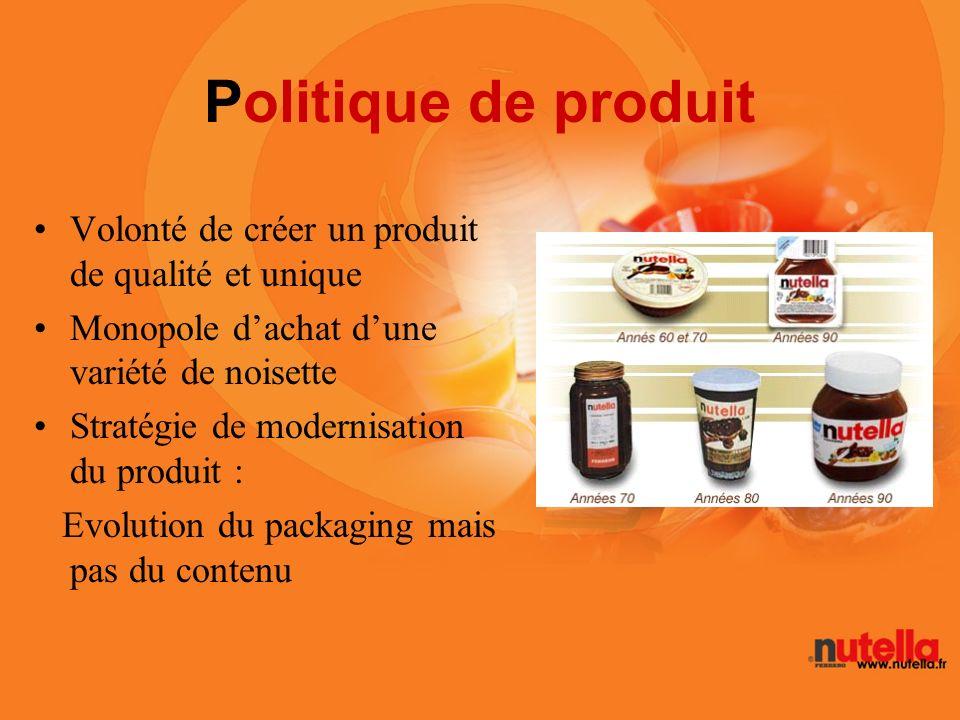 Politique de produit Volonté de créer un produit de qualité et unique Monopole dachat dune variété de noisette Stratégie de modernisation du produit :