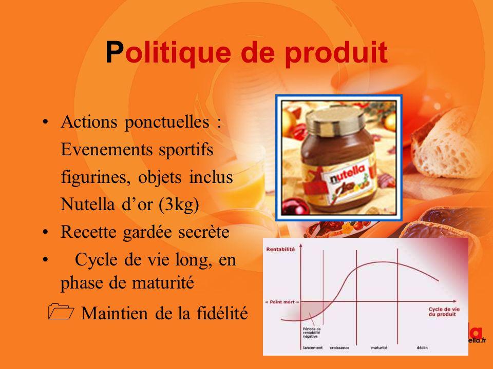 Politique de produit Actions ponctuelles : Evenements sportifs figurines, objets inclus Nutella dor (3kg) Recette gardée secrète Cycle de vie long, en