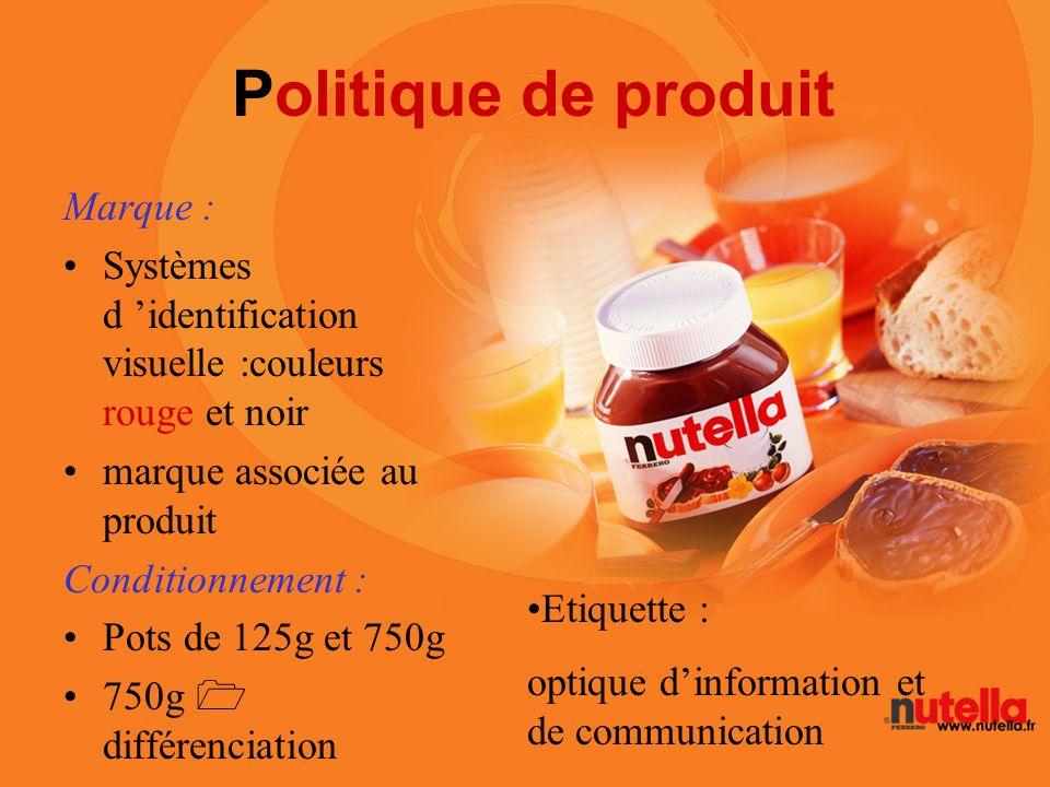 Politique de produit Marque : Systèmes d identification visuelle :couleurs rouge et noir marque associée au produit Conditionnement : Pots de 125g et