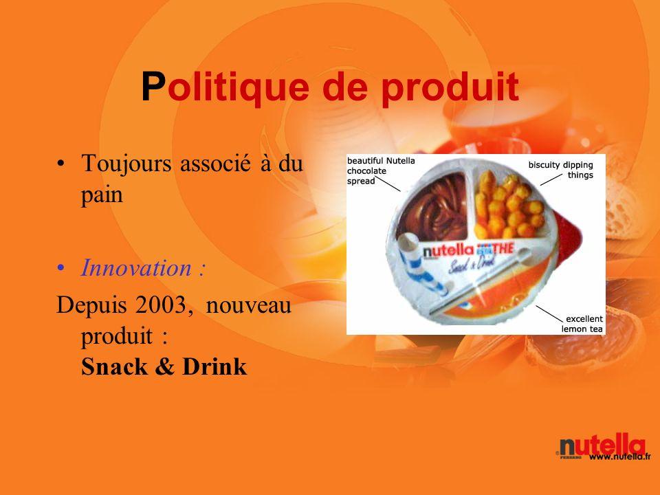 Politique de produit Toujours associé à du pain Innovation : Depuis 2003, nouveau produit : Snack & Drink