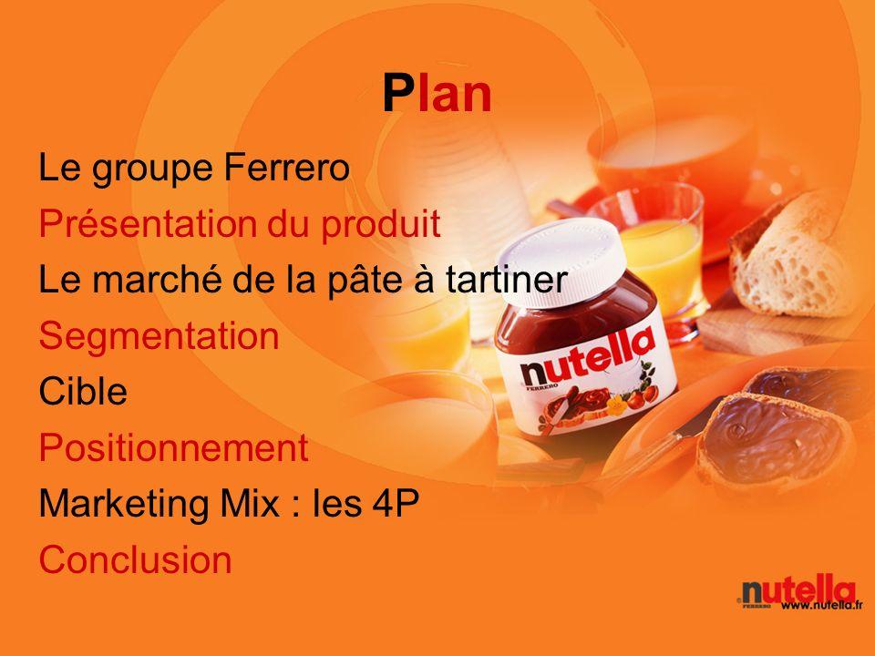 Plan Le groupe Ferrero Présentation du produit Le marché de la pâte à tartiner Segmentation Cible Positionnement Marketing Mix : les 4P Conclusion