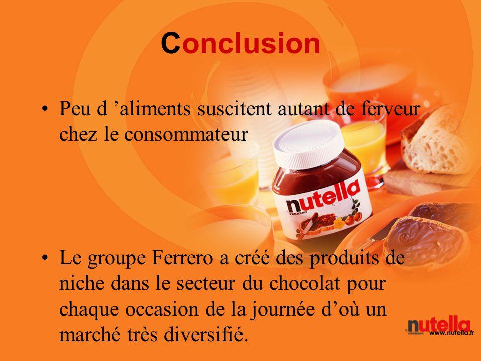 Conclusion Peu d aliments suscitent autant de ferveur chez le consommateur Le groupe Ferrero a créé des produits de niche dans le secteur du chocolat