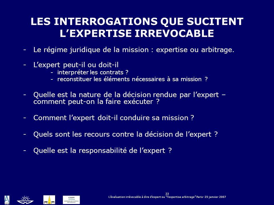 23 Lévaluation irrévocable à dire dexpert ou lexpertise arbitrage Paris- 25 janvier 2007 LES INTERROGATIONS QUE SUCITENT LEXPERTISE IRREVOCABLE -Le ré