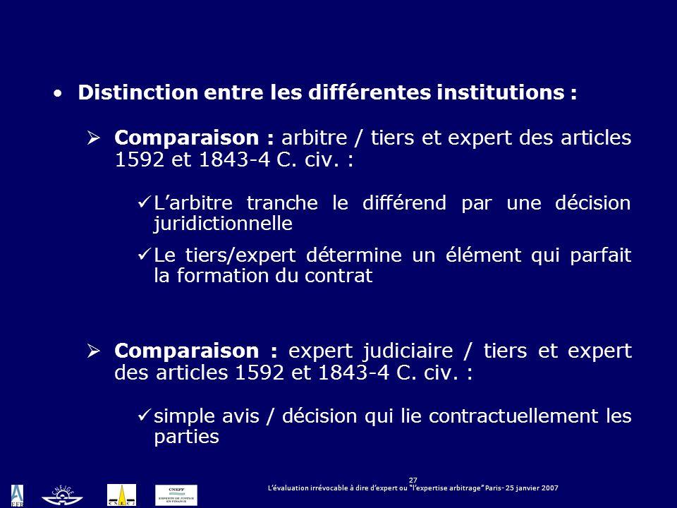 27 Lévaluation irrévocable à dire dexpert ou lexpertise arbitrage Paris- 25 janvier 2007 Distinction entre les différentes institutions : Comparaison
