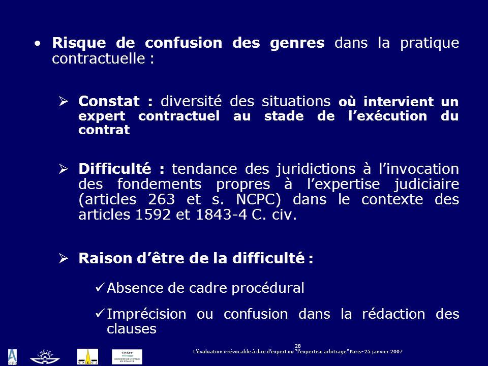 28 Lévaluation irrévocable à dire dexpert ou lexpertise arbitrage Paris- 25 janvier 2007 Risque de confusion des genres dans la pratique contractuelle