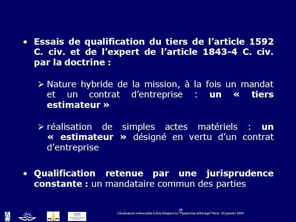29 Lévaluation irrévocable à dire dexpert ou lexpertise arbitrage Paris- 25 janvier 2007 Essais de qualification du tiers de larticle 1592 C. civ. et