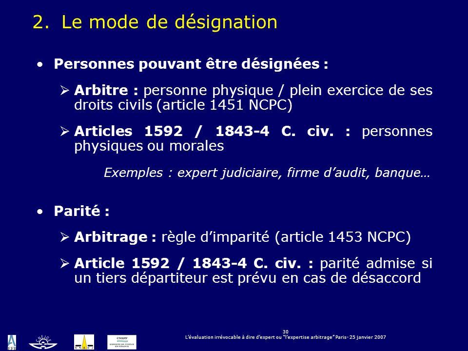 30 Lévaluation irrévocable à dire dexpert ou lexpertise arbitrage Paris- 25 janvier 2007 Personnes pouvant être désignées : Arbitre : personne physiqu