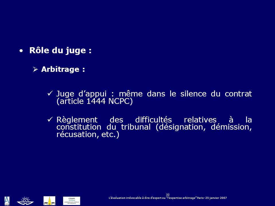 32 Lévaluation irrévocable à dire dexpert ou lexpertise arbitrage Paris- 25 janvier 2007 Rôle du juge : Arbitrage : Juge dappui : même dans le silence