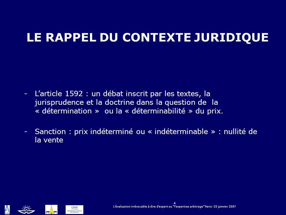 4 Lévaluation irrévocable à dire dexpert ou lexpertise arbitrage Paris- 25 janvier 2007 LE RAPPEL DU CONTEXTE JURIDIQUE -Larticle 1592 : un débat insc