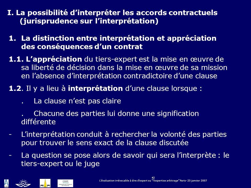 42 Lévaluation irrévocable à dire dexpert ou lexpertise arbitrage Paris- 25 janvier 2007 LÉVALUATION IRRÉVOCABLE À DIRE DEXPERT OU LEXPERTISE ARBITRAG
