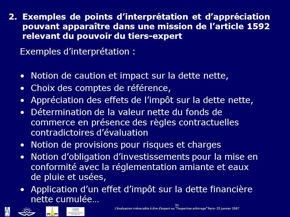 51 Lévaluation irrévocable à dire dexpert ou lexpertise arbitrage Paris- 25 janvier 2007 2.Exemples de points dinterprétation et dappréciation pouvant