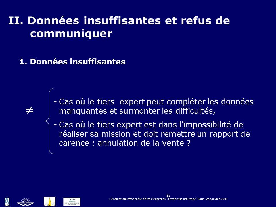 53 Lévaluation irrévocable à dire dexpert ou lexpertise arbitrage Paris- 25 janvier 2007 LÉVALUATION IRRÉVOCABLE À DIRE DEXPERT OU LEXPERTISE ARBITRAG