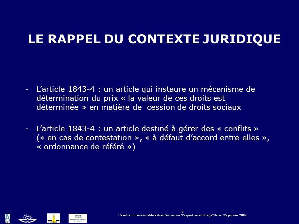 6 Lévaluation irrévocable à dire dexpert ou lexpertise arbitrage Paris- 25 janvier 2007 LE RAPPEL DU CONTEXTE JURIDIQUE -Larticle 1843-4 : un article
