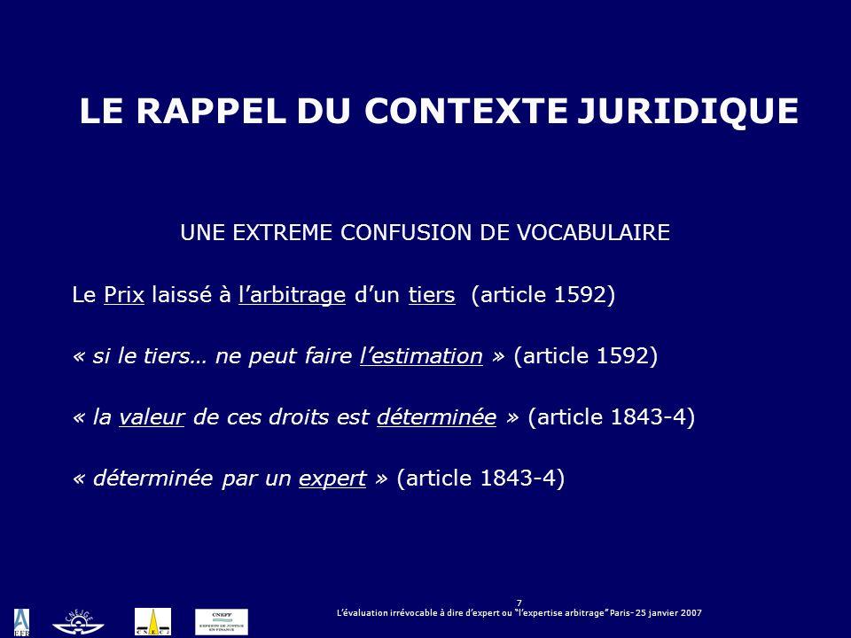 7 Lévaluation irrévocable à dire dexpert ou lexpertise arbitrage Paris- 25 janvier 2007 LE RAPPEL DU CONTEXTE JURIDIQUE UNE EXTREME CONFUSION DE VOCAB