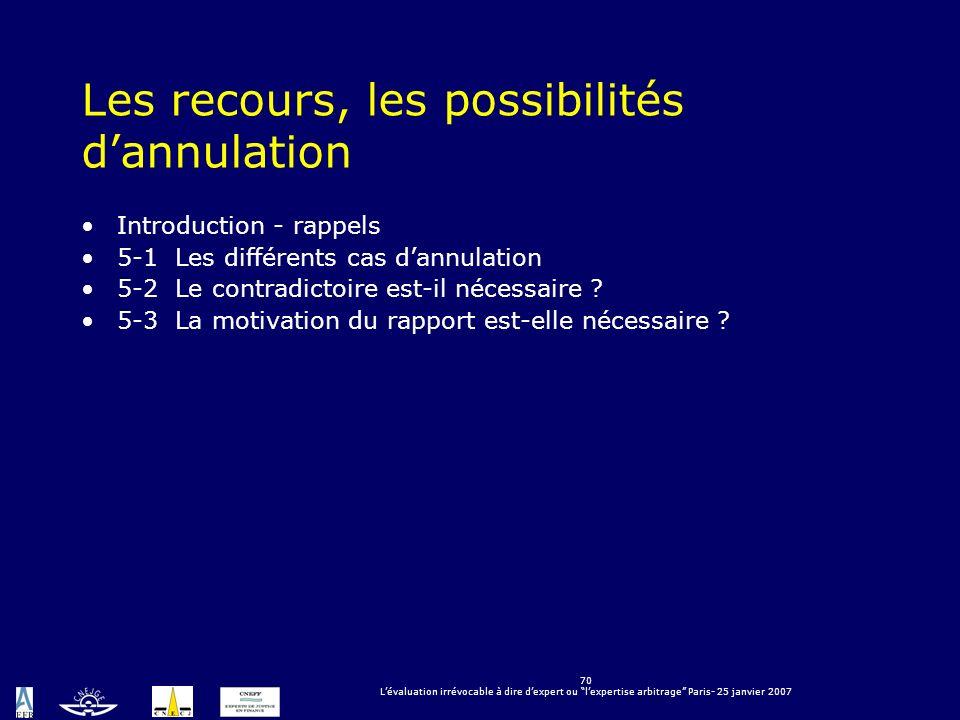 70 Lévaluation irrévocable à dire dexpert ou lexpertise arbitrage Paris- 25 janvier 2007 Les recours, les possibilités dannulation Introduction - rapp