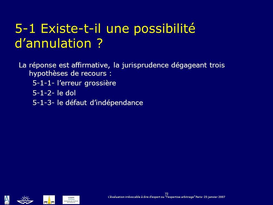 72 Lévaluation irrévocable à dire dexpert ou lexpertise arbitrage Paris- 25 janvier 2007 5-1 Existe-t-il une possibilité dannulation ? La réponse est