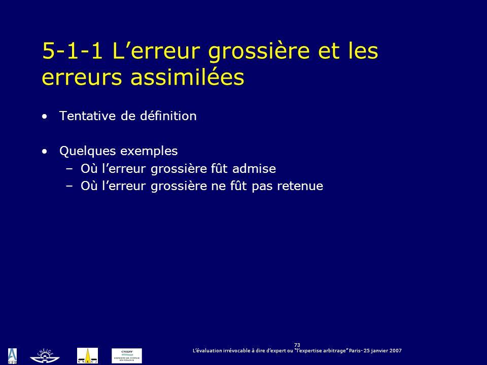 73 Lévaluation irrévocable à dire dexpert ou lexpertise arbitrage Paris- 25 janvier 2007 5-1-1 Lerreur grossière et les erreurs assimilées Tentative d