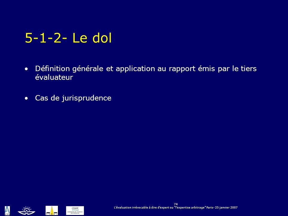 74 Lévaluation irrévocable à dire dexpert ou lexpertise arbitrage Paris- 25 janvier 2007 5-1-2- Le dol Définition générale et application au rapport é