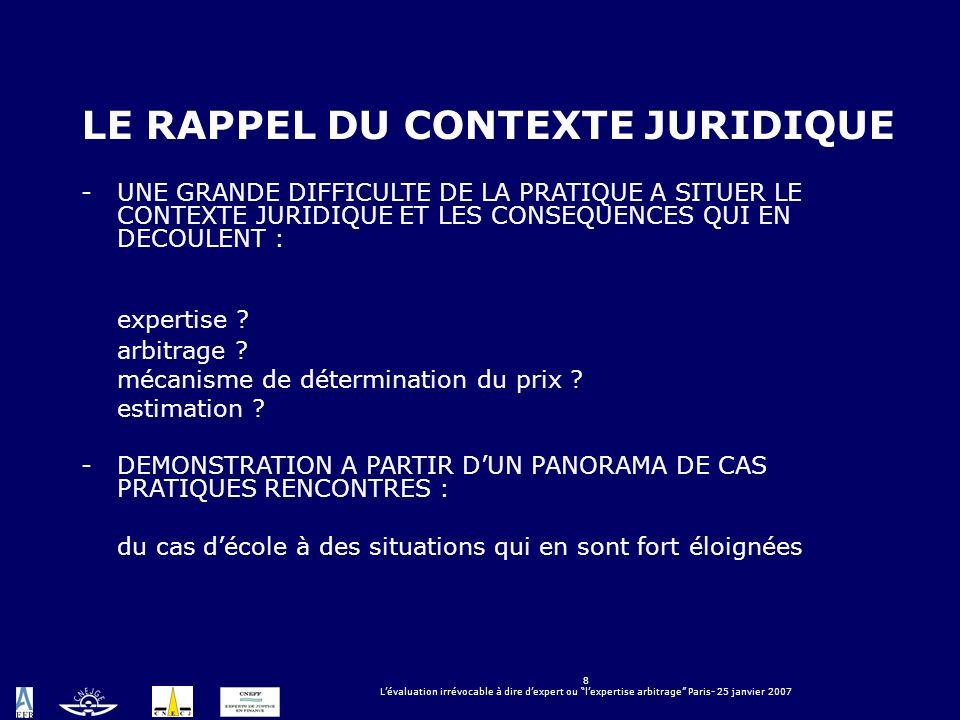 8 Lévaluation irrévocable à dire dexpert ou lexpertise arbitrage Paris- 25 janvier 2007 LE RAPPEL DU CONTEXTE JURIDIQUE -UNE GRANDE DIFFICULTE DE LA P