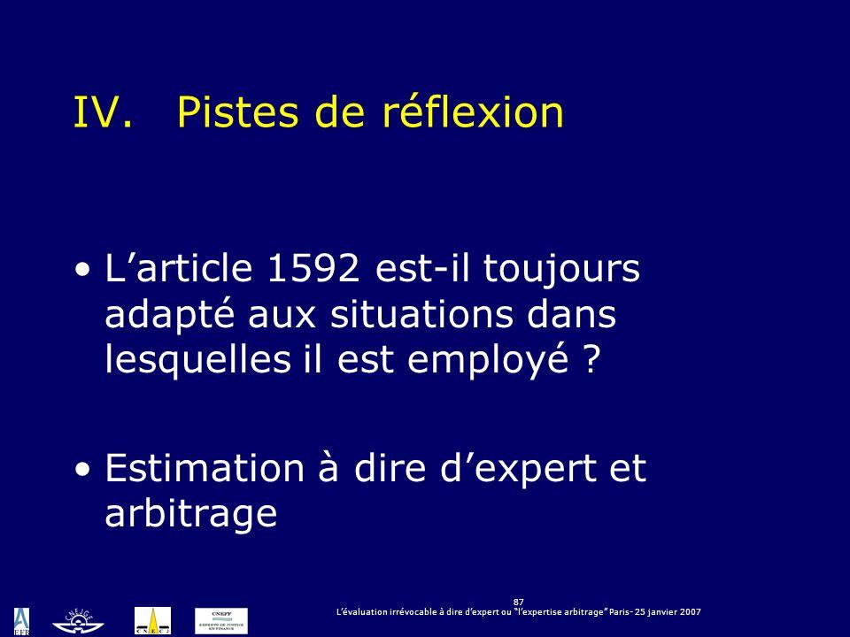 87 Lévaluation irrévocable à dire dexpert ou lexpertise arbitrage Paris- 25 janvier 2007 IV.Pistes de réflexion Larticle 1592 est-il toujours adapté a