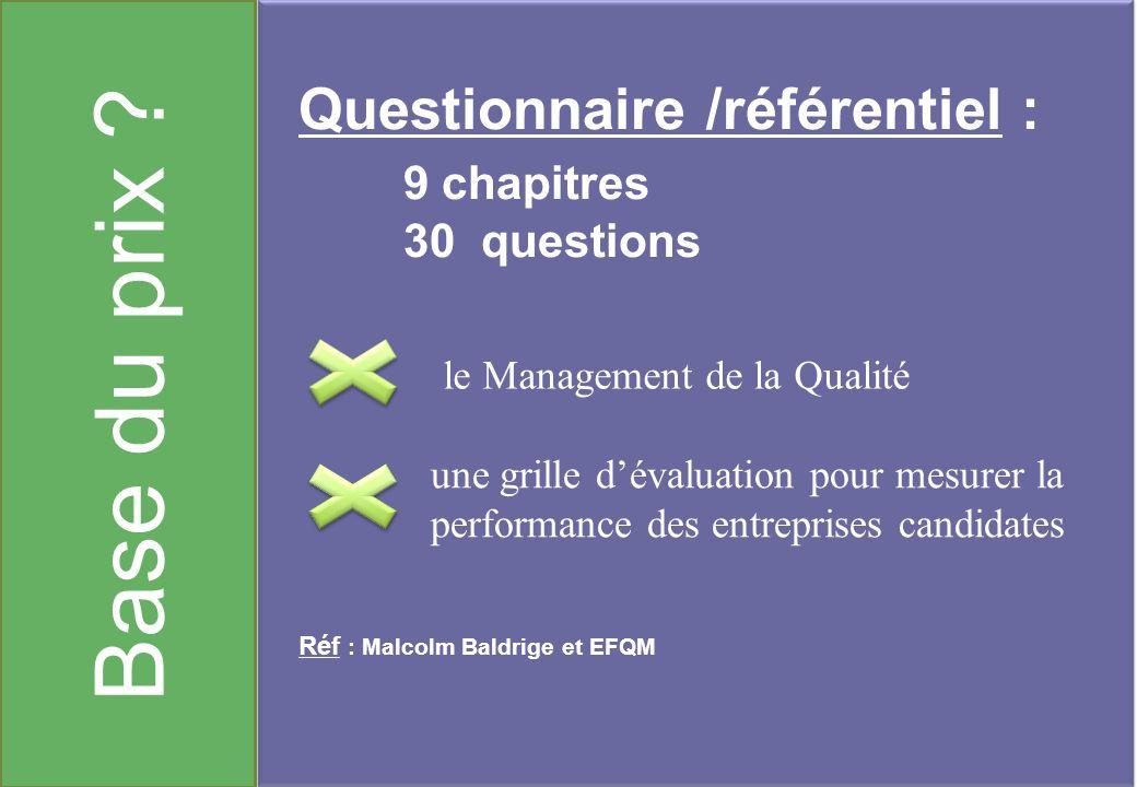 Base du prix ? Questionnaire /référentiel : 9 chapitres 30 questions Réf : Malcolm Baldrige et EFQM le Management de la Qualité une grille dévaluation