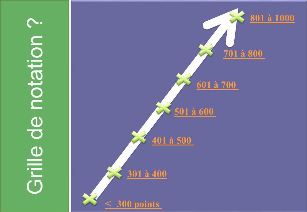 Grille de notation ? < 300 points 301 à 400 401 à 500 501 à 600 601 à 700 701 à 800 801 à 1000