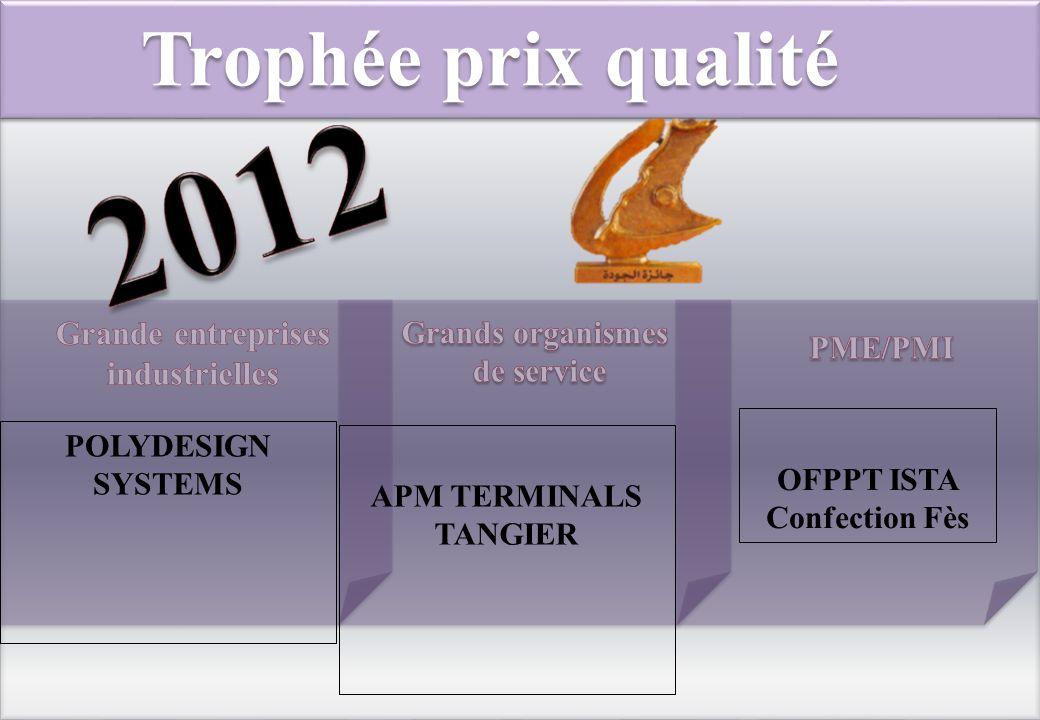 Trophée prix qualité POLYDESIGN SYSTEMS OFPPT ISTA Confection Fès APM TERMINALS TANGIER
