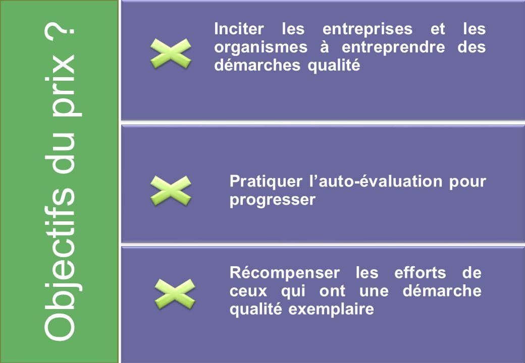Objectifs du prix ? Inciter les entreprises et les organismes à entreprendre des démarches qualité Pratiquer lauto-évaluation pour progresser Récompen