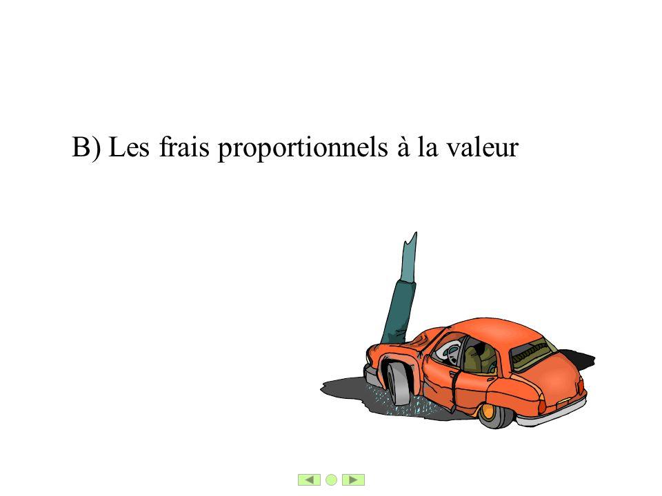 B) Les frais proportionnels à la valeur