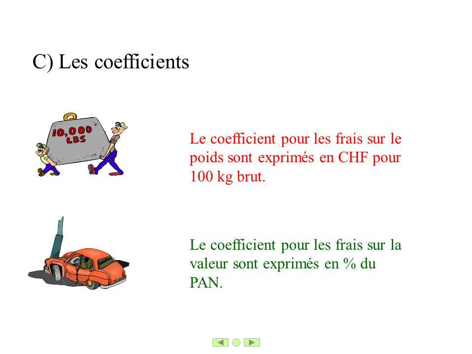 C) Les coefficients Le coefficient pour les frais sur le poids sont exprimés en CHF pour 100 kg brut. Le coefficient pour les frais sur la valeur sont